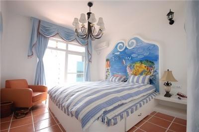 蓝色调为主地中海小清卧室