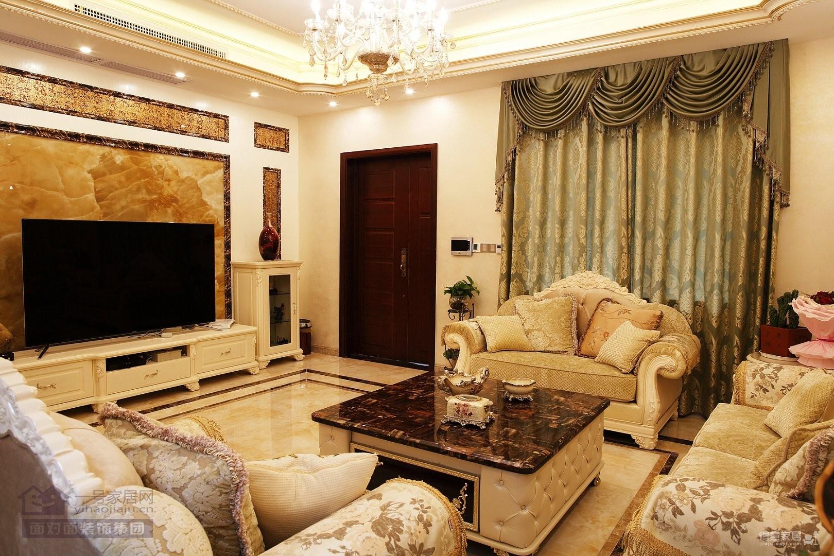 别墅-现代欧式-330平-客厅实拍图装修效果图