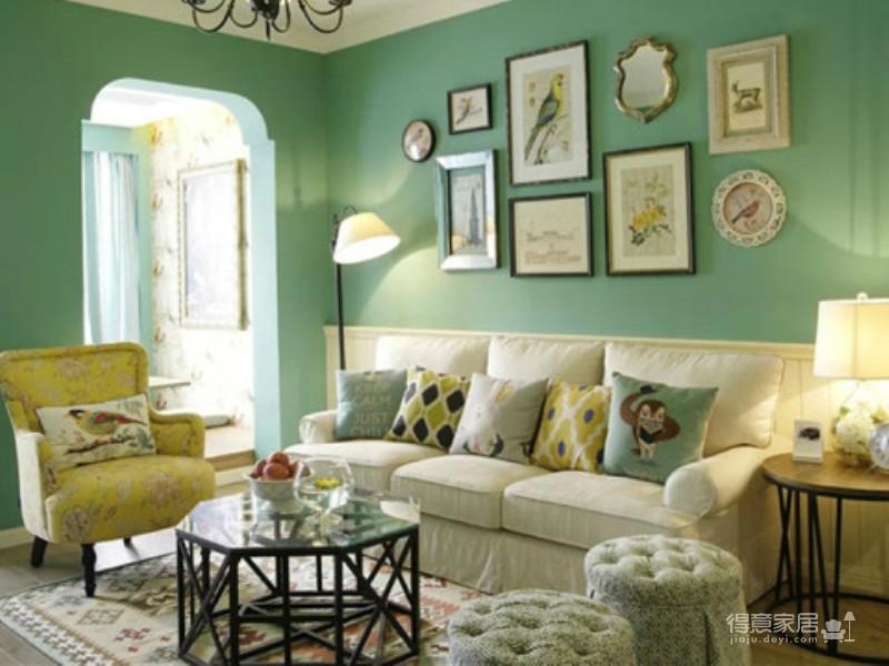 93平 11w 蓝绿色田园风格装修效果图_得意家居装修