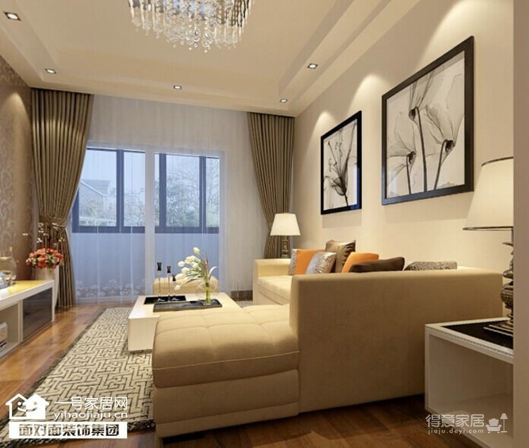 和昌都汇华府 80平 现代简约 两室两厅装修效果图 得意家居装修图库 高清图片