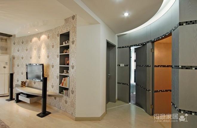 """在这套两居室的现代风格装修设计实景案例中,弧形的墙面、弧形的地面、阳台上错落有致的小桥流水,巧妙的利用墙体的空间,从空间上来看""""偷""""了不少面积,这样的""""玩""""空间,着实让人意想不到,从色彩上来看也有不少亮点,暖色调和冷色调的运用,充分说明了设计师的功力"""