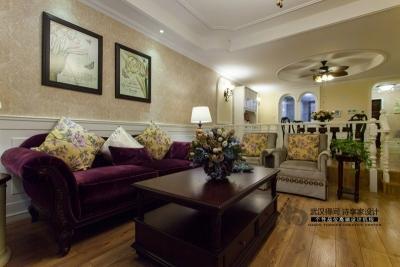 欧式古典 易高装饰 客厅榻榻米背景墙吊顶飘窗窗帘鞋