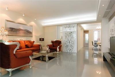 三室两厅红色欧式背景墙装修效果图