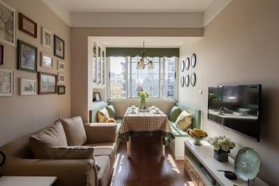 百变饰品两室两厅白色美式客厅餐桌装修效果图_百变两图片
