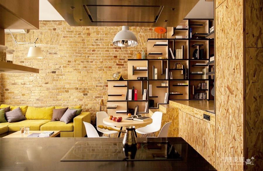 彩色砖墙壁创意loft小户型装修效果图