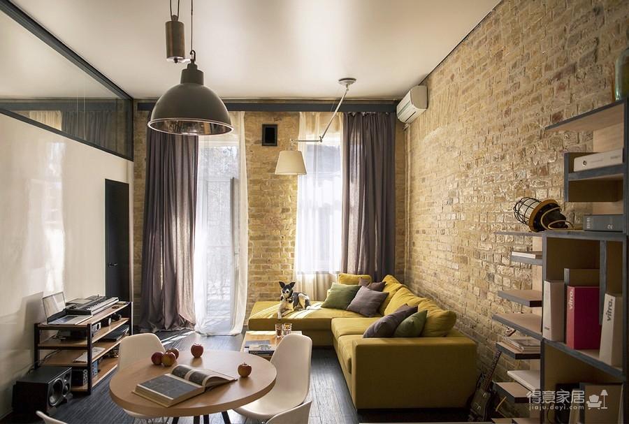 彩色砖墙壁创意loft小户型装修效果图_得意家居装修
