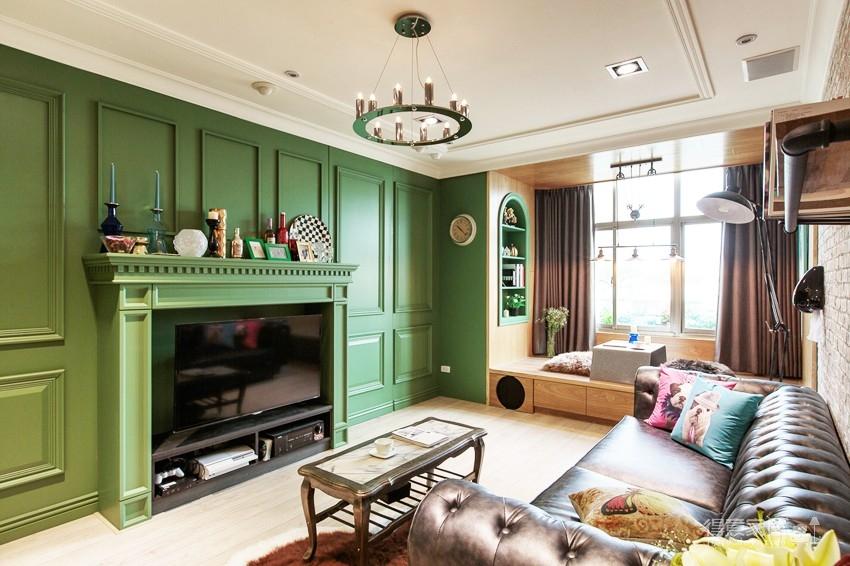 68平墨绿背景墙小两居装修效果图