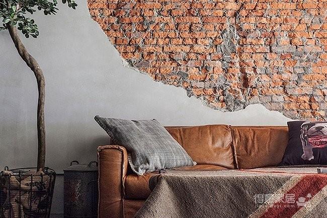 工业风水泥墙 红砖背景墙装修效果图 得意家居装修图库 得意家居网高清图片