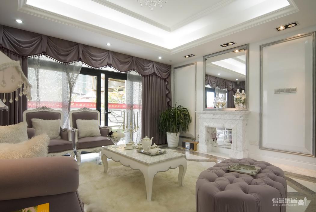 淡紫色欧式奢华格调小三居装修效果图_得意家居装修