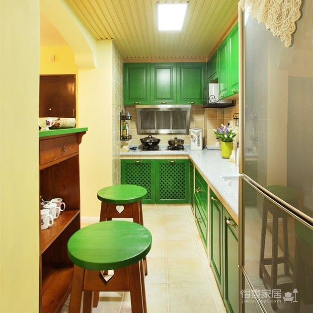 墨綠色田園風櫥柜超貌美!裝修效果圖