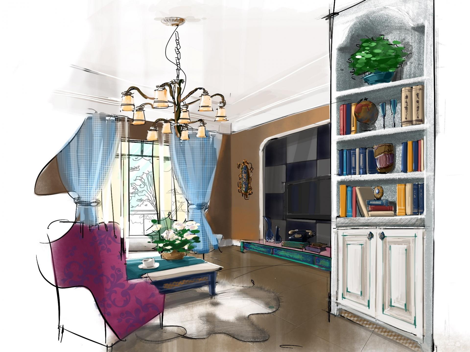 世纪名苑美式风格手绘装修效果图_得意家居装修图库