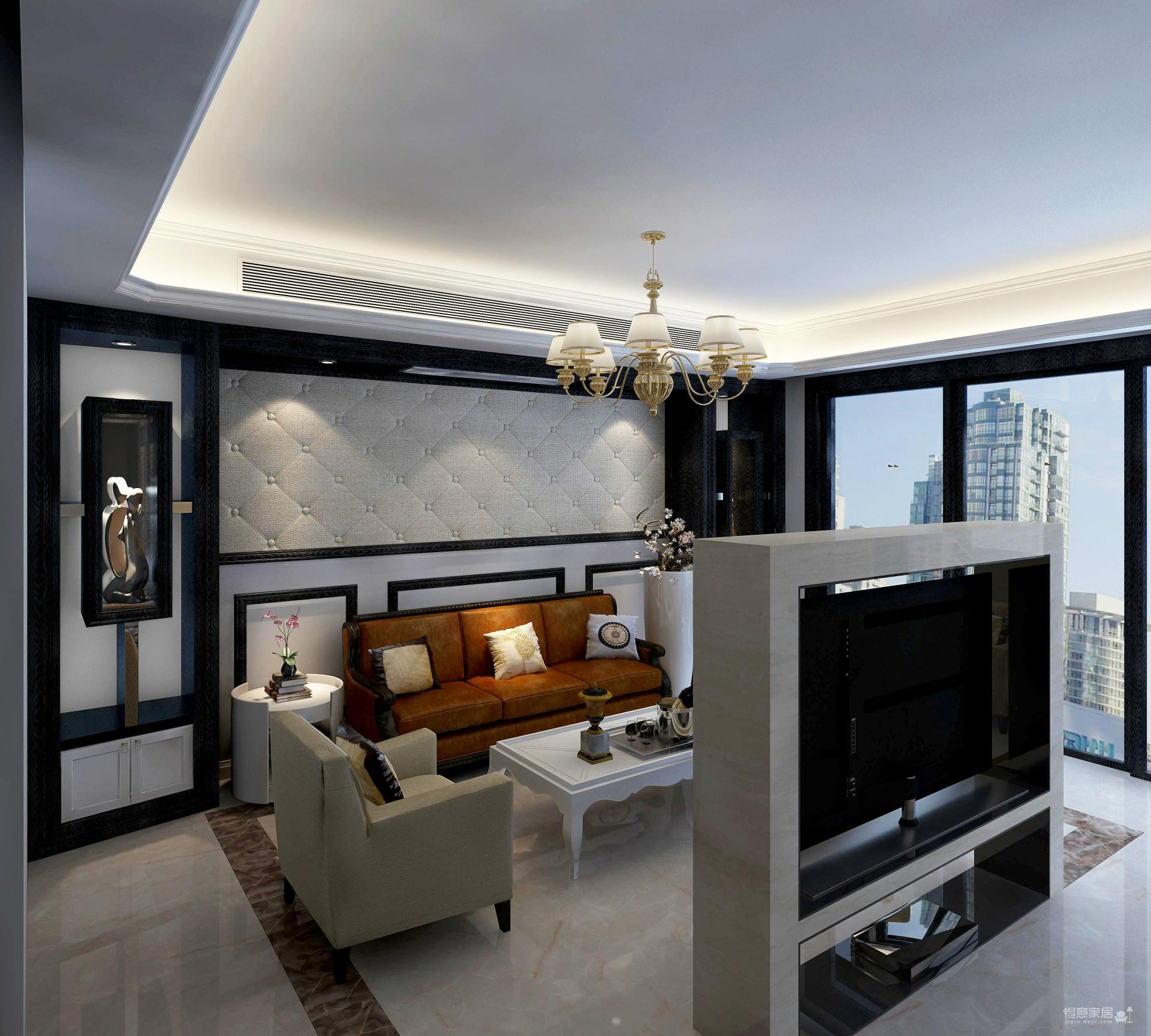 客厅以电视机墙为隔断