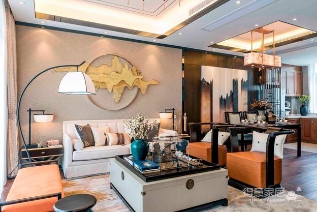 100平新中式三室可以这么美!装修效果图_得意家居 ...