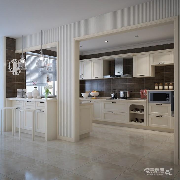 素白淡雅开放式厨房效果图装修效果图
