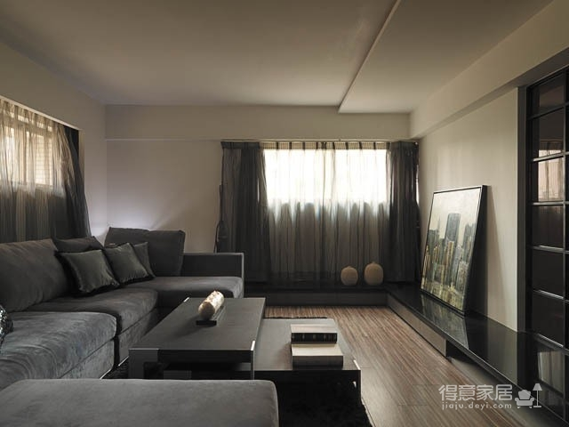 黑白灰港式风复式楼装修效果图_得意家居装修图库