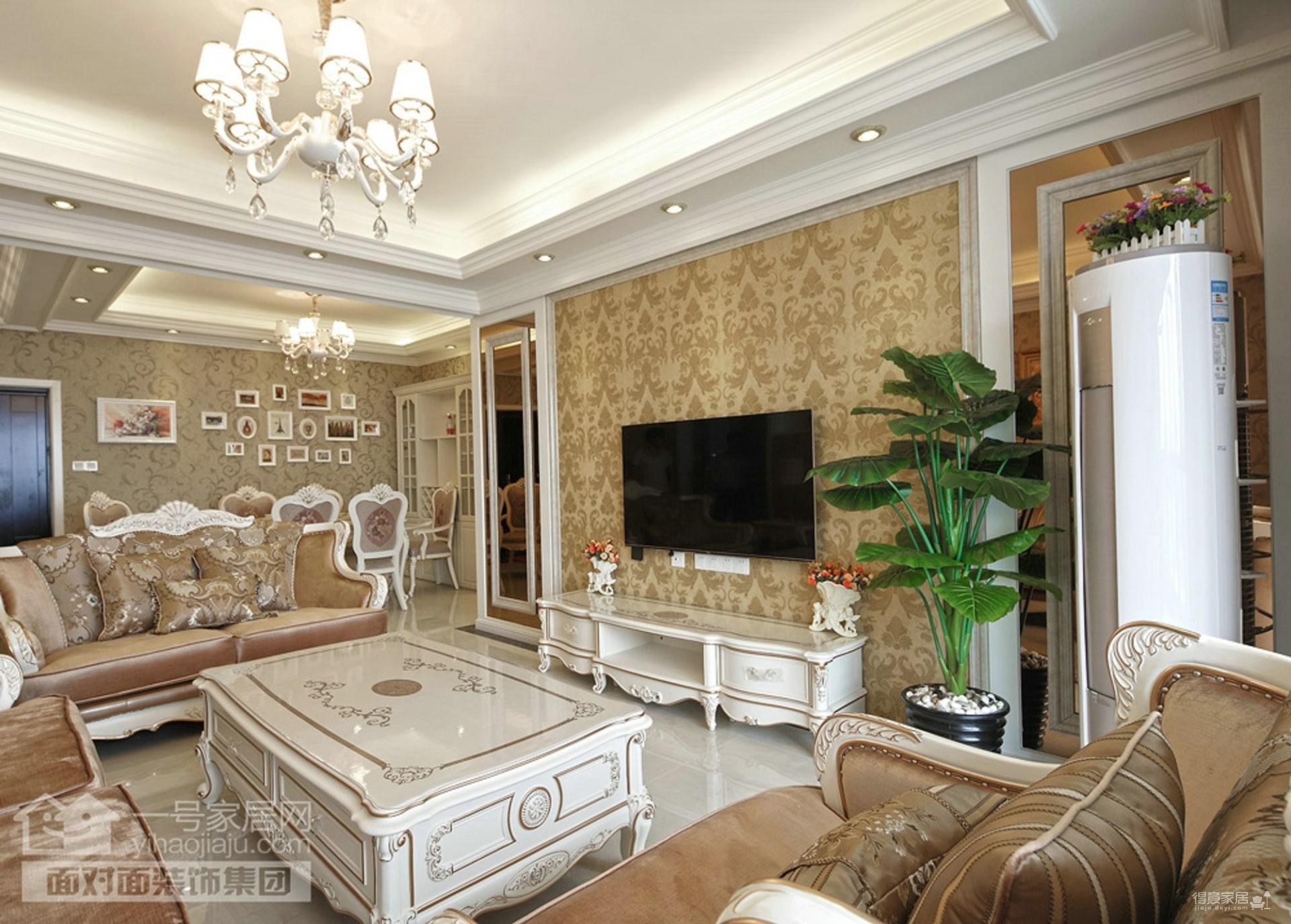 菩堤苑120平三室两厅简欧风格装修效果图