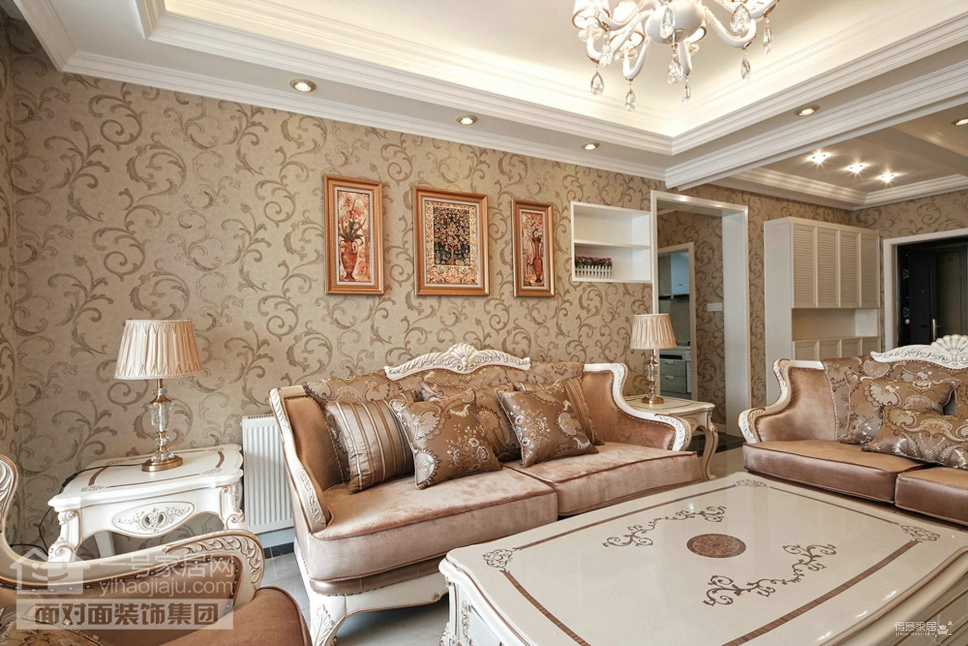 菩堤苑120平三室两厅简欧风格装修效果图_得意家居
