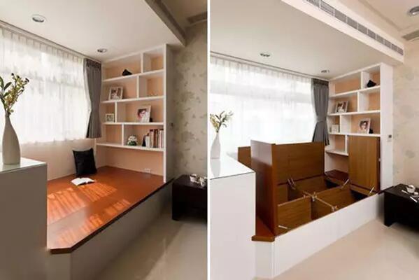 小榻榻米做的地台,简单平整中增添了多个收纳空间.图片