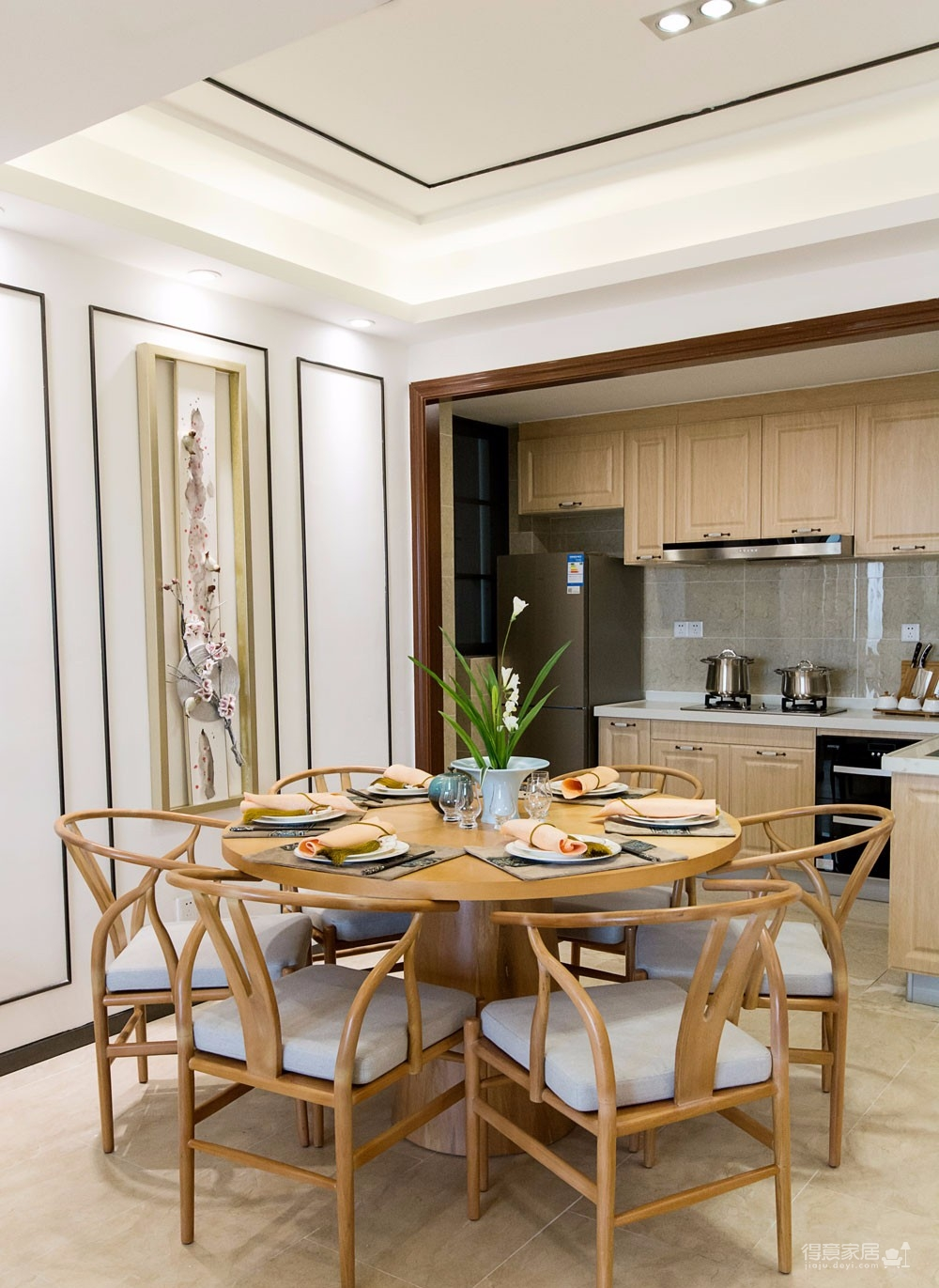 【新中式】 107平 原木新中式装修效果图_得意家居