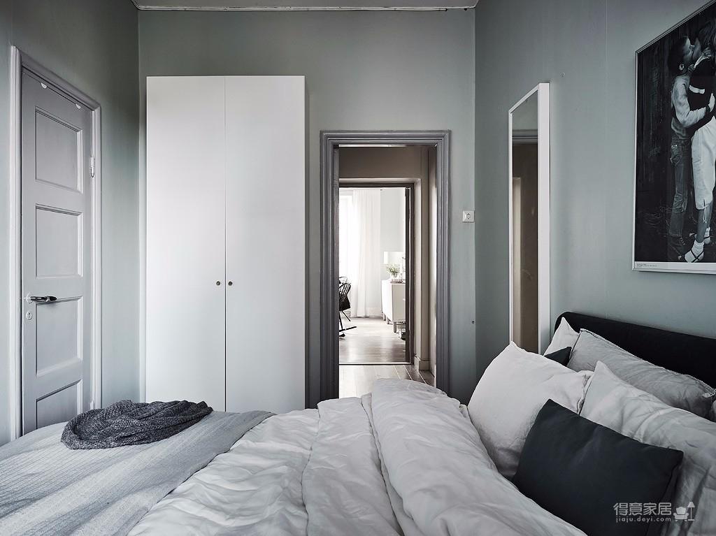 54平灰白北欧单身公寓装修效果图_得意家居装修图库图片