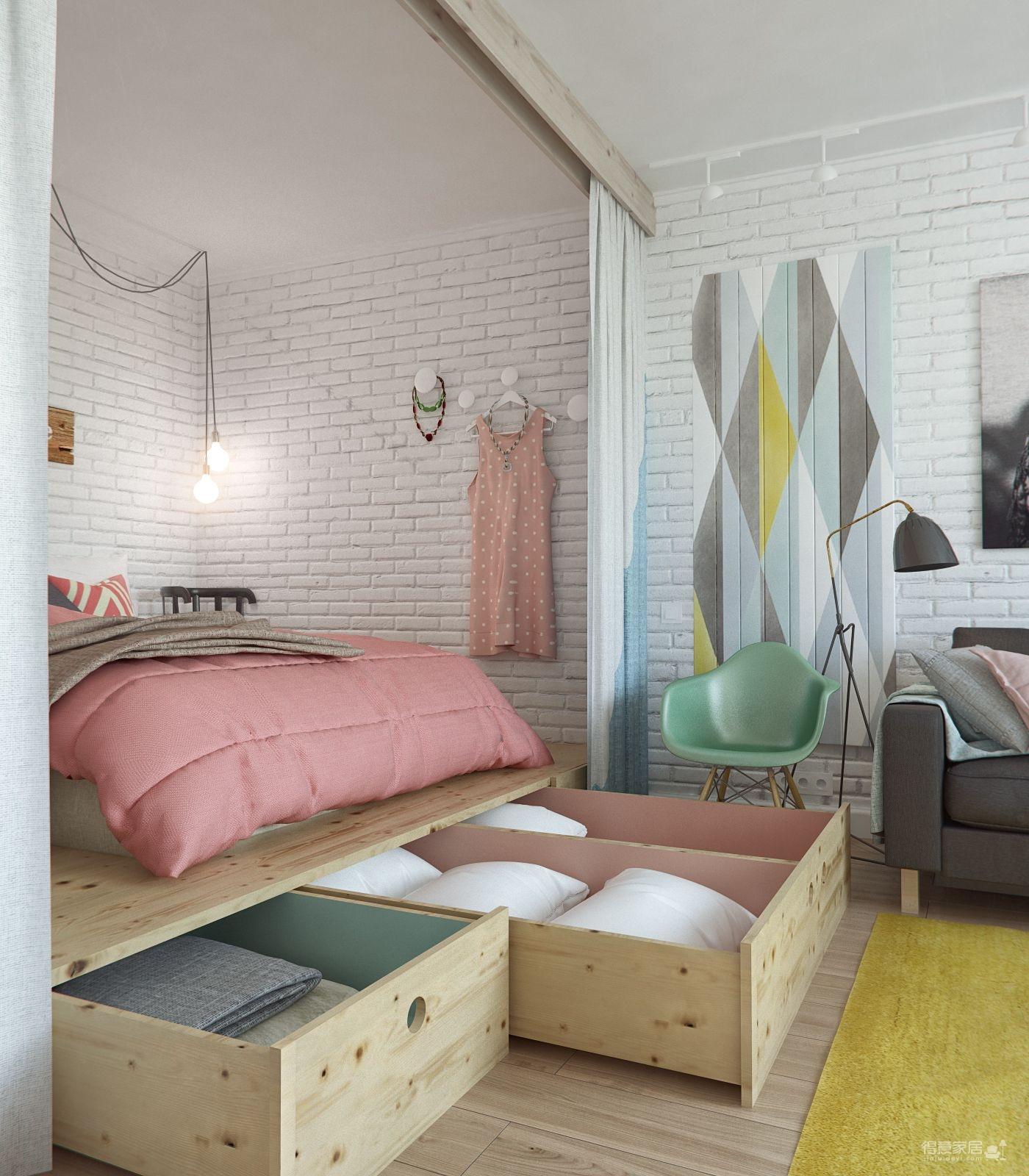 现代清新马卡龙色小屋装修效果图_得意家居装修图库