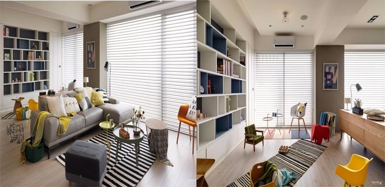 130平现代简约多彩风,黑白条纹地毯充满时尚俏皮的气息