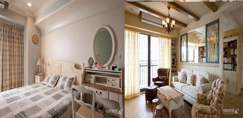 110平美式轻奢风,米白和黄色的搭配使整个空间营造出温馨舒适的氛围
